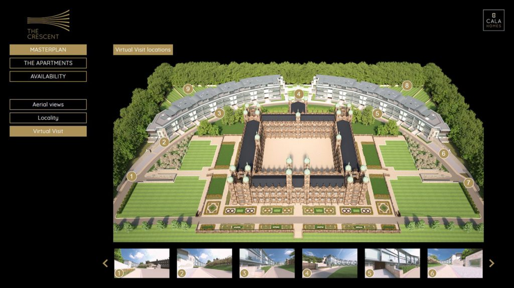 Virtual Visit provides an engaging way for buyers to move round the grounds at The Crescent