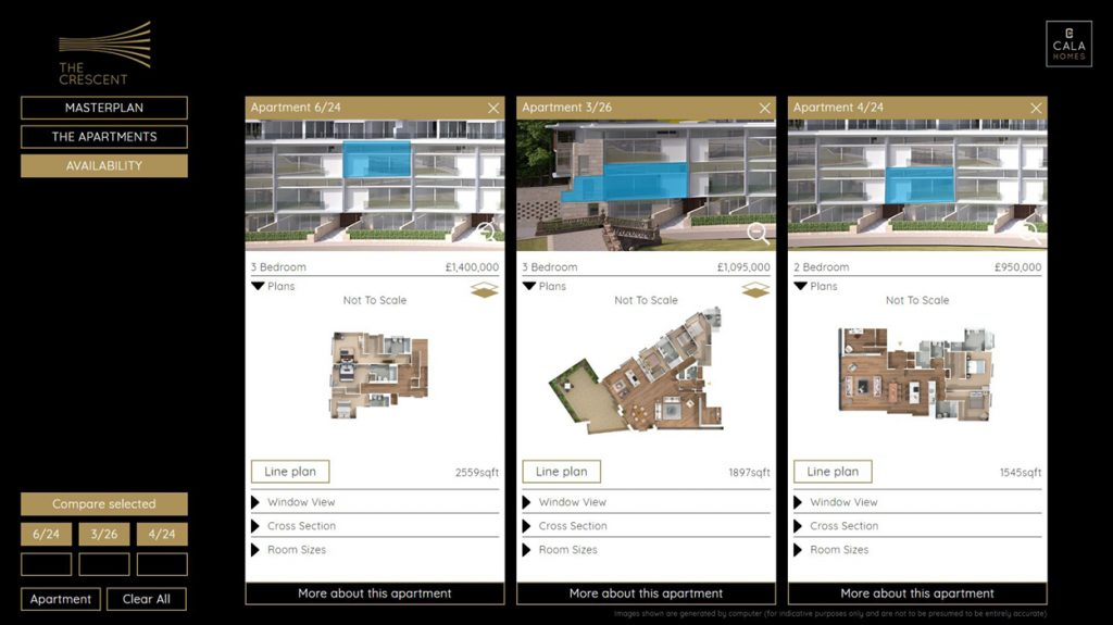 Being able to save a shortlist of favourites and compare apartments across the development is a highly prized feature
