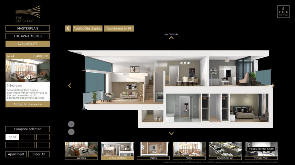 The system is rich in content and designed to be highly engaging helping to showcase the unique layout and space within each apartment
